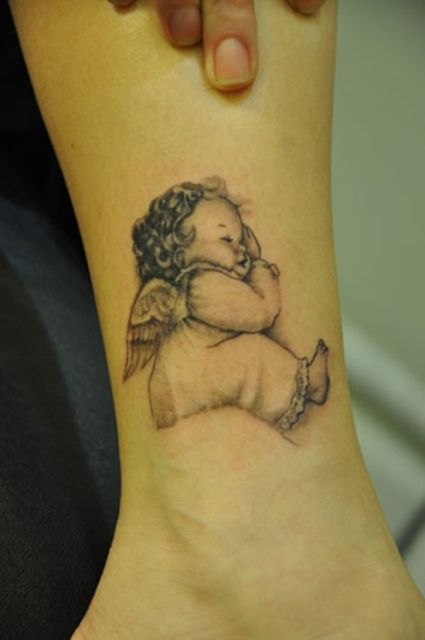 Baby Angel Tattoos for Leg
