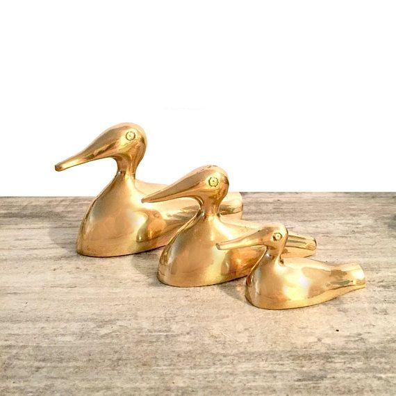 Vintage Brass Duck Figurines Set of 3 Graduating Ducklings #Brass #ducks #HomeDecor #VintageBrass #VintageDecor