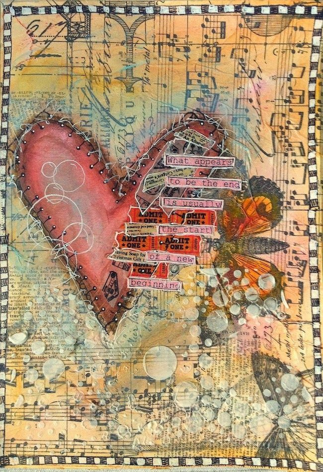 ART JOURNAL PAGE { BROKEN HEART } | Nika In Wonderland Art Journaling and Mixed Media Tutorials