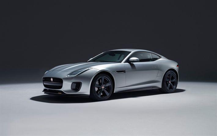 Descargar fondos de pantalla Jaguar F-Type, 2017, 4k, doble roadster y coupé deportivo, exterior, plata F-Type, coches deportivos Británicos, Jaguar