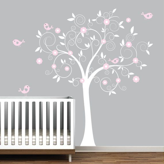 vinyl wall decal nursery tree decal bird tree nurserye48