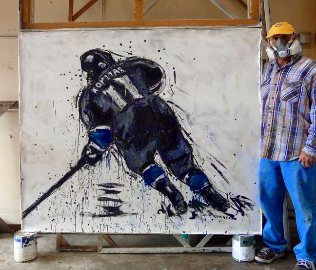 Los Angeles Kings center Anze Kopitar....painting by John Robertson of John Robertson Sports Art...Check out this painting and his other work here!