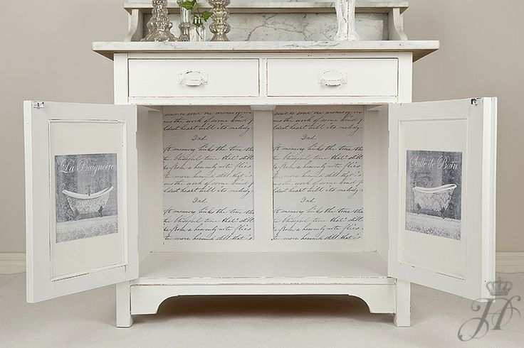 Home No,1 Design Handpainted washstand with decoupage on inside