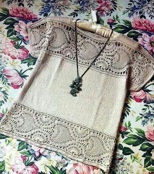 Crochet + fabric. (Ideas from the Internet) / Crochet / Women clothes hook. Scheme.