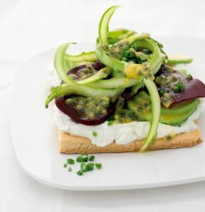 Beetroot and goat's milk cheese tart with granadilla (passion fruit) dressing from Tastemag.co.za