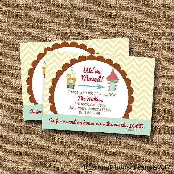 We've Moved | New Address Card | Change of Address Card | DIY PRINTABLE | Christian, Scripture, Bible Card | (Choose Your House Graphics)