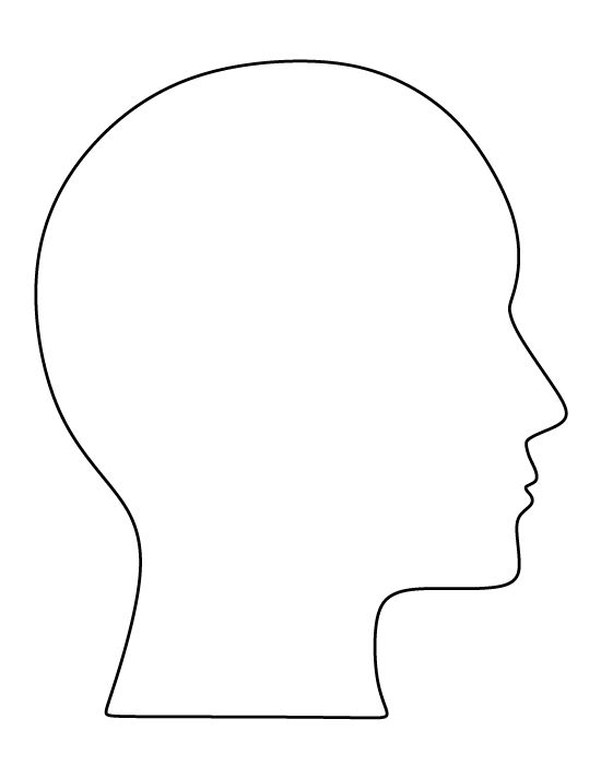 Human head pattern. Use the printable outline for crafts, creating stencils, scrapbooking, and more. Free PDF template to download and print at http://patternuniverse.com/download/human-head-pattern/