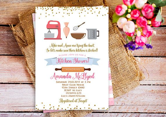Kitchen Bridal Shower Invitation, Stock the pantry bridal shower invitation, cooking theme bridal shower invite, Baking shower invitation