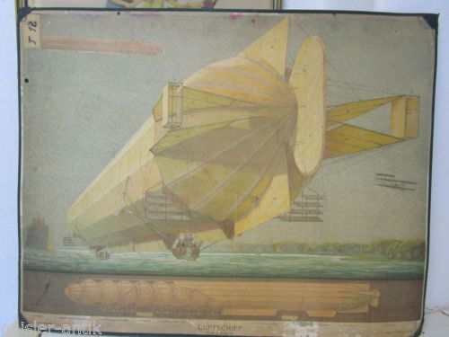 Antik-Litho-Lehrtafel-Zepellin-Luftschiff-Gasballon-Gondel-Vintage-Deko-um-1900