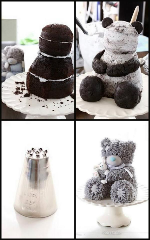 fluffy bear cake tutorial-wish I could do this for claudia