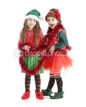 jvenes elfos de navidad enredan en garland u imagen de stock