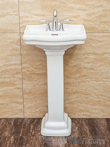 Fine Fixtures, Roosevelt White Pedestal Sink - Vitreous China Ceramic Material (4 Inch Faucet Spread hole)