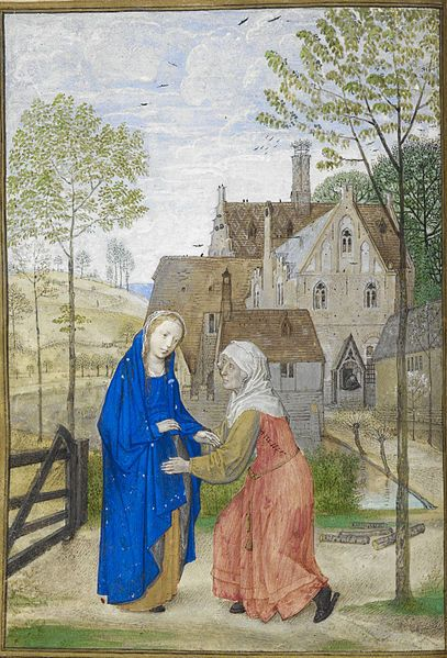 File:The Visitation. Mary and Elizabeth in the garden of a country house - Huth Hours (1485-1490), f.66v - BL Add MS 38126.jpg: