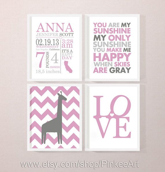 25 unique custom baby gifts ideas on pinterest rustic growth personalized baby stats art pink personalized new baby gift nursery birth print custom negle Image collections