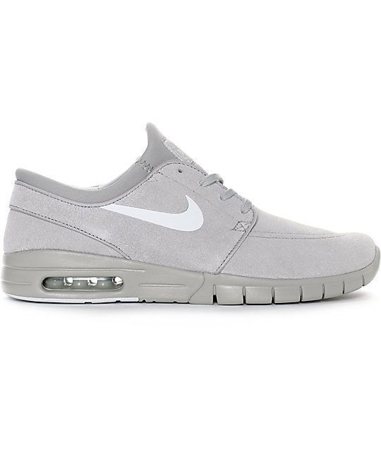 896a298cb0cc Nike SB Stefan Janoski Air Max Matte Silver Pure Platinum Grey Shoes Men s  Sz 10
