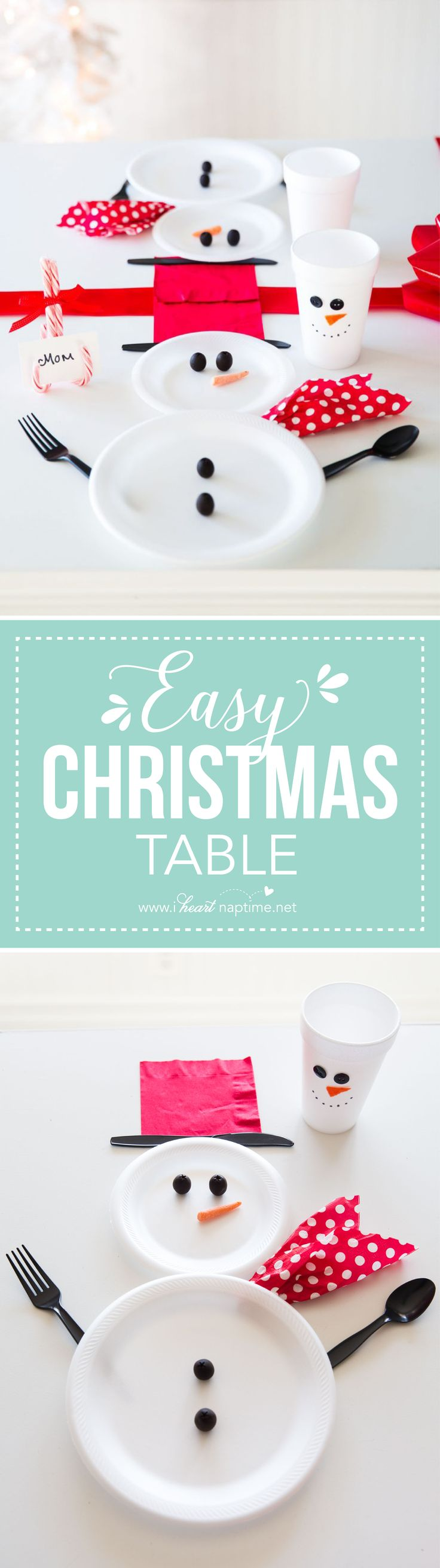 Wrapped Christmas Table and Snowman Plates... an easy and cute way to decorate your table for the holidays!