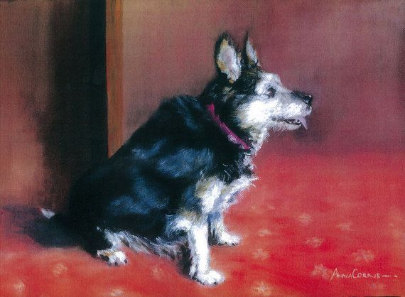 Terrier Dog Print of Oil on Canvas - A3 - Tally, Terrier cross, 5% of profits to Cornwall Air Ambulance Trust #dogs #art