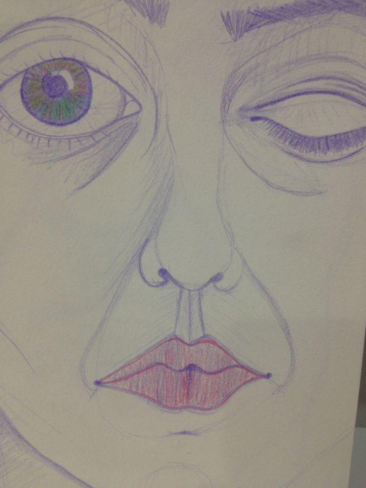 #selfportrait #color #pencils #purple