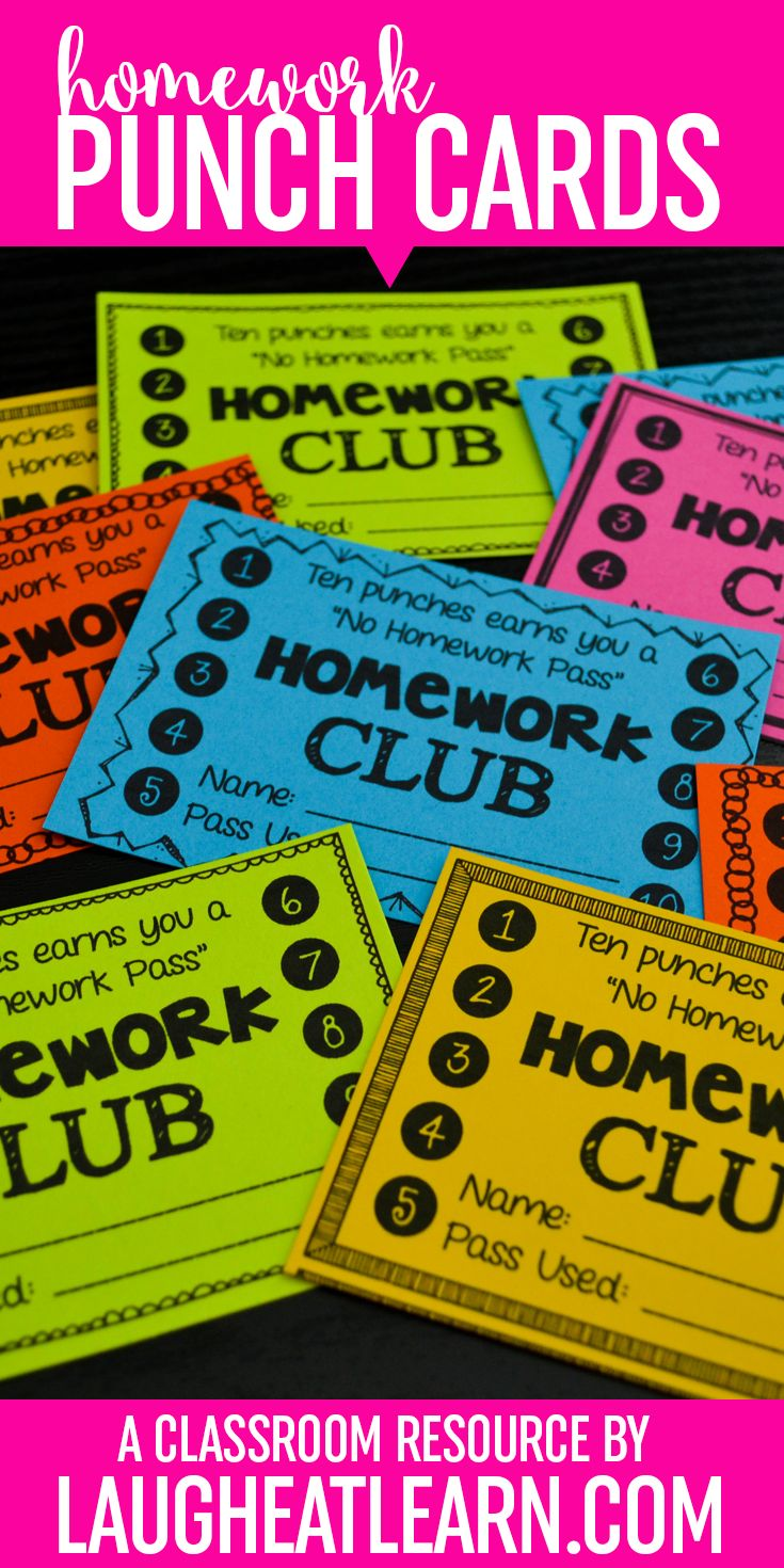 Punch cards are the perfect homework incentive for any aged student. They are free rewards earned for something they should already be doing! Kids will be motivated to get their homework done with these fun punch cards.