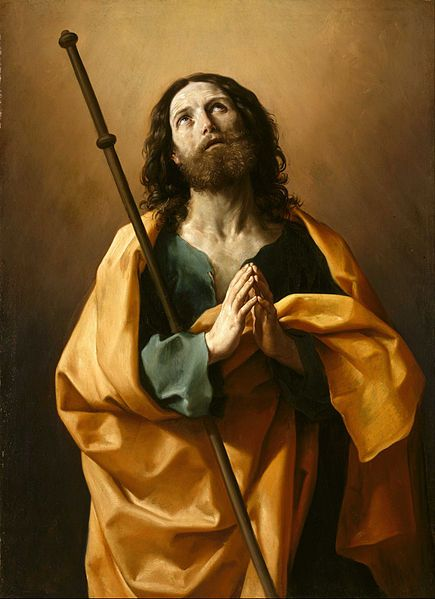 Catholic Encyclopedia entry on Saint James the Greater; portrait by Guido Reni from Google Art Project on Wikimedia Commons