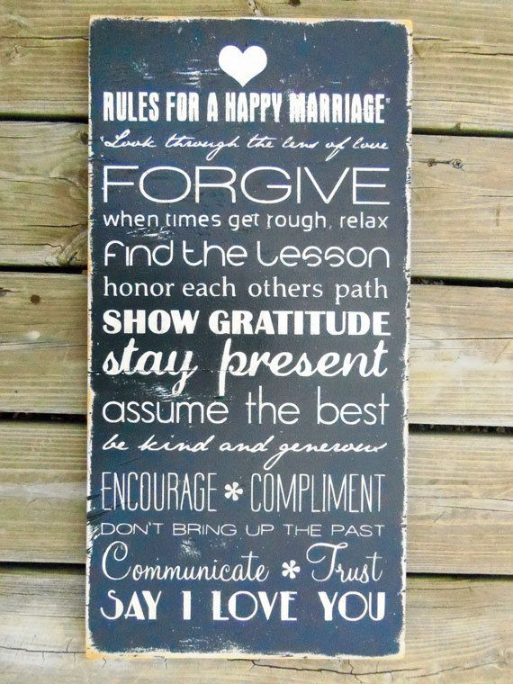 Dr John Gottman's rules. RULES FOR A HAPPY MARRIAGE - Typography Wood