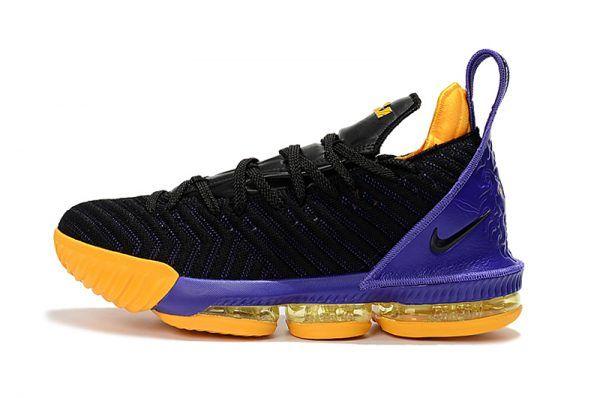 254f14bf1e84 2018 Nike LeBron 16 Black Purple Yellow Shoes Cheap For Sale