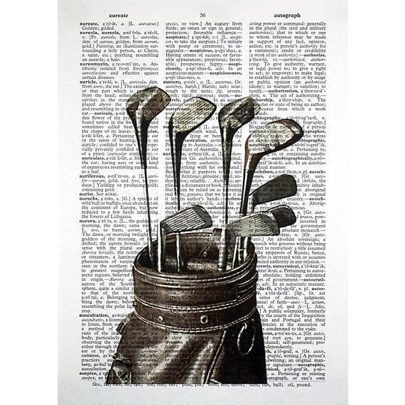 Vintage Golf Clubs bw Print on an Antique by glasslionstudio