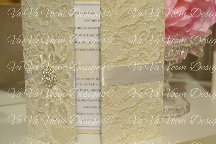 Exquisite Lace Hardcover Invitation- Exclusively Designed by Va Va Voom Designs- Embellished with Lace Motif, Diamonte Cluster and White Satin Ribbon.