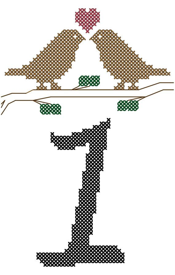 Modern Cross Stitch Pattern Table Numbers 1-5 with love birds on branch