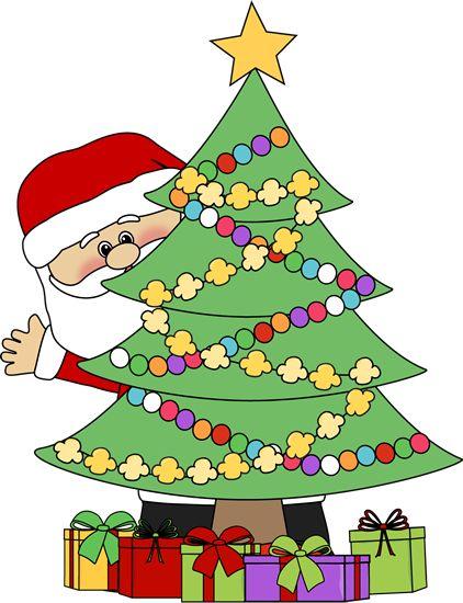 christmas clip art | Santa Behind a Christmas Tree Clip Art - Santa Claus peeking out from ...