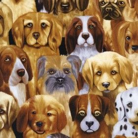 Puppies by Michael Searle - Timeless Treasures Stoffe