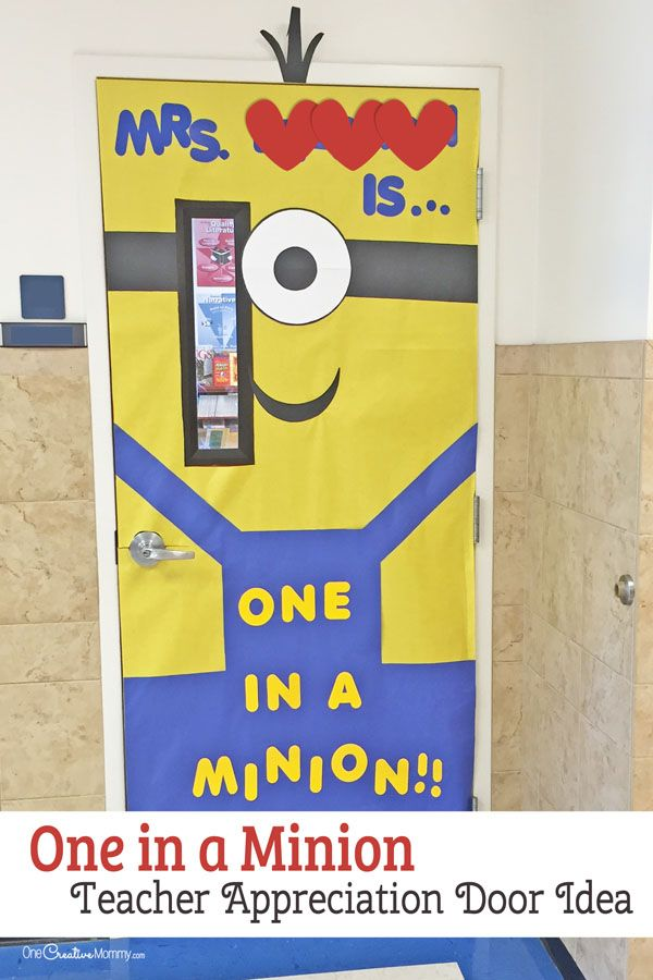 One in a Minion Door Decorating Idea featured with 21 Teacher Appreciation Door Ideas! {OneCreativeMommy.com} So many great ideas for your teacher!