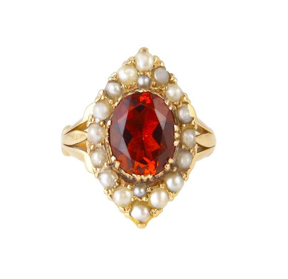 Victorian Hessonite Garnet And Seed Pearl by ProvenanceJewellery