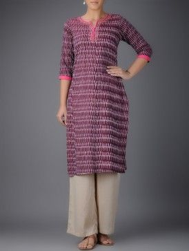 Maroon-Pink Ikat Handwoven Cotton Kurta with Hand Embroidery
