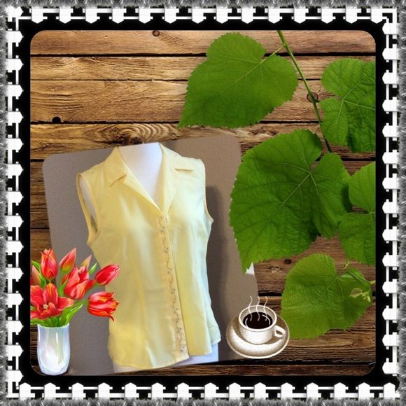 Button up sheer embroidered blouseBOGO  Embroidered blouse very feminine yellow button up...beautiful NWT Fenomenon Tops Button Down Shirts