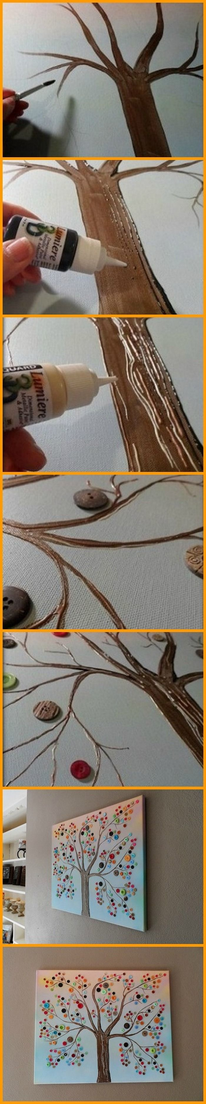 Decorate your home with this button tree on canvas! Why buy wall decor, when you can make it yourself :-) http://theownerbuildernetwork.co/q6ro