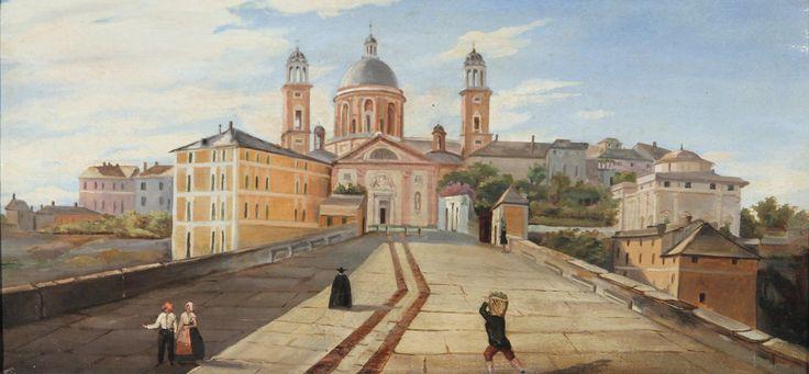 Anonimo, Genova. Ponte di Carignano, prima metà del XIX sec., olio su tela