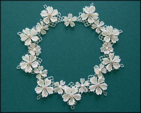Kronleuchterjuwelen Glasperlenschmuck - Hochzeitscollier mit Blumen (Detailseite 2)
