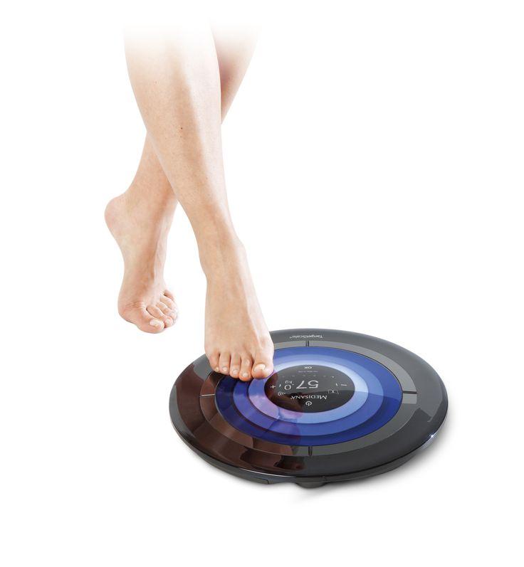 """MEDISANA TargetScale® - """"Okos""""-testösszetétel-elemző mérleg modul, mellyel pontosan meghatározható a testsúly, testtömegindex (BMI), a testzsír és a víz aránya, a csontok és az izmok tömege, valamint a napi kalóriaigény."""