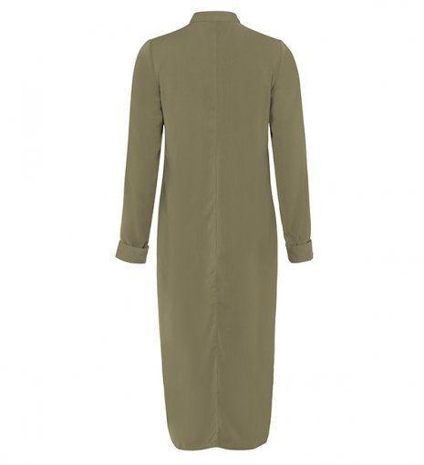 long olive tailored shirt dress