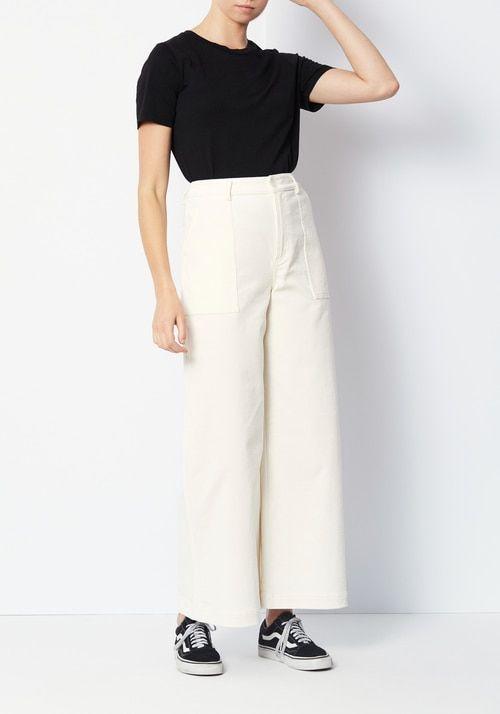 ef254a4637b81b Ganni Ridgewood White Corduroy Wide Pants di 2019 | Ootd | Wide ...