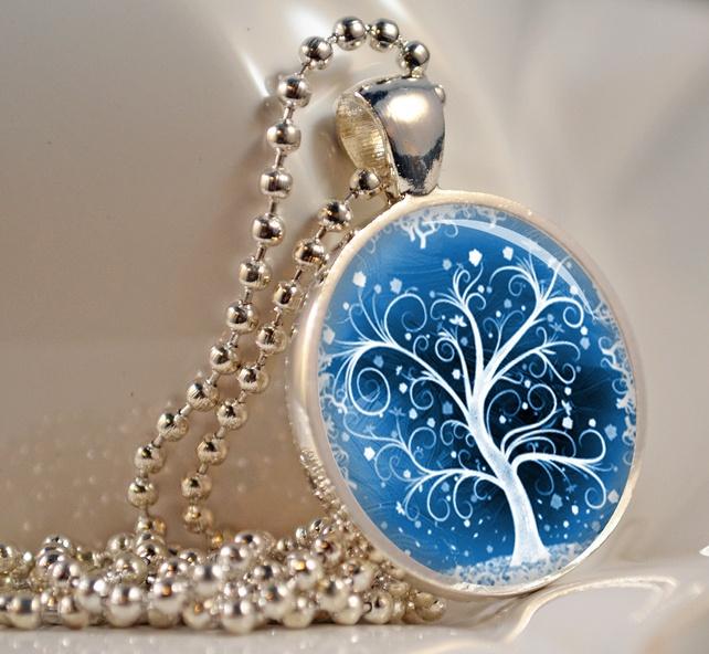 White Winter Tree Necklace, Resin Pendant, Photo Pendant, Resin Jewellery (119)