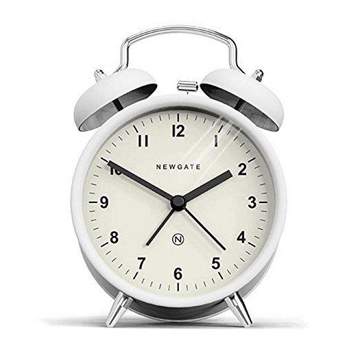 Newgate Charlie Bell Alarm Clock, Pebble White