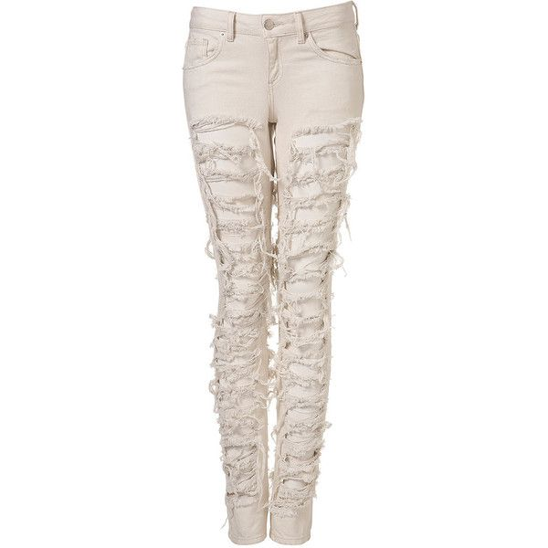Moto Extreme Ripped Jeans ❤ liked on Polyvore. love white ripped jeans :D.