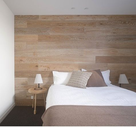 Love the touch of warmth through texture and natural finishes, especially in the bedroom adore the wood feature wall #bedrooms