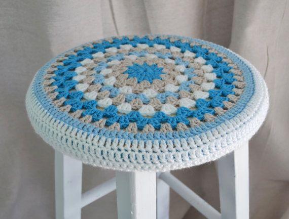 Crochet Stool Cover Granny Round 12  Coastal Vibe by TannaGail, $18.00