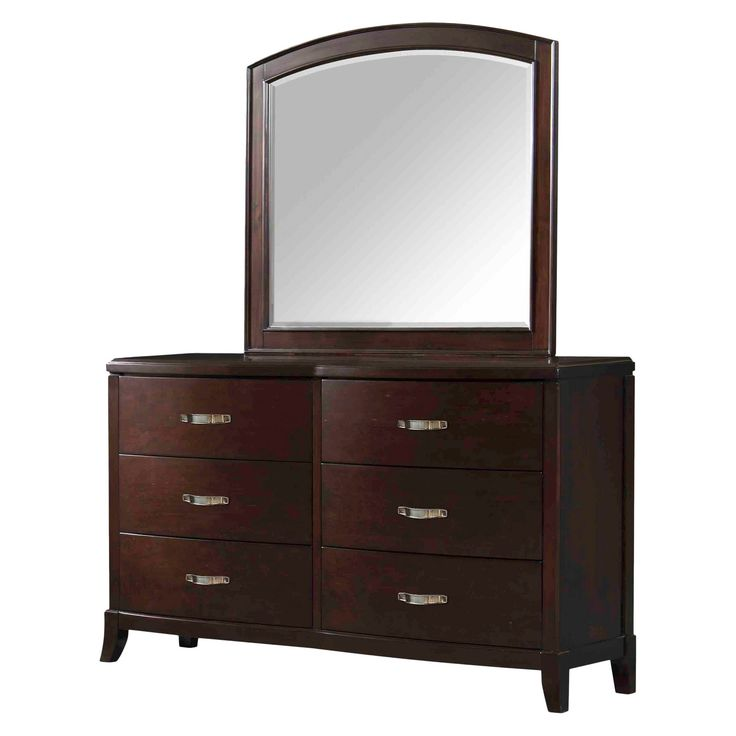 With a sleek, simple design and subtle curves, the Dacey Espresso 6 Drawer Dresser offers timeless appeal and classic function. Crafted from durable hardwood with an elegant espresso finish, this dresser offers 6 drawers, an attached mirror and a large top surface ideal for extra storage or display. Pair with coordinating Dacey bedroom furniture to create a complete bedroom set.