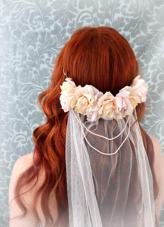 Blush bridal veil, wedding crown, rose circlet, wedding accessories