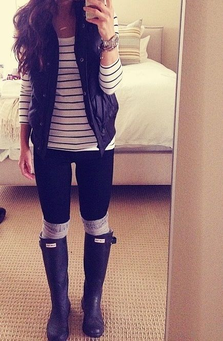 Rainy day style: striped tee, vest, leggings, boot socks, & rain boots.  Love blogger Andee Layne's style!