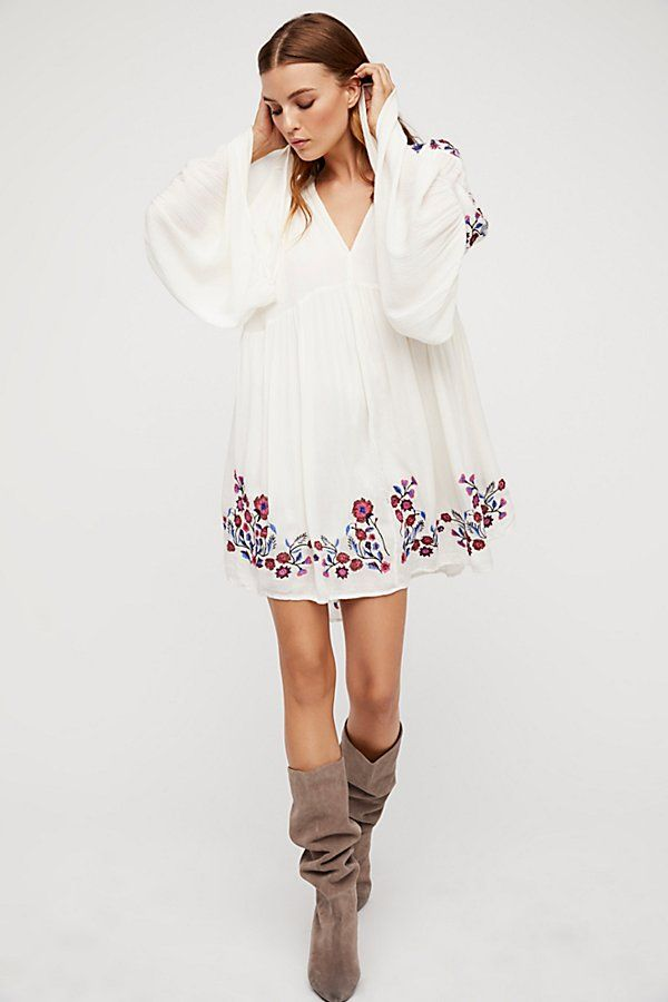 Slide View 1 Te Amo Mini Dress Embroidered Dress Boho Long
